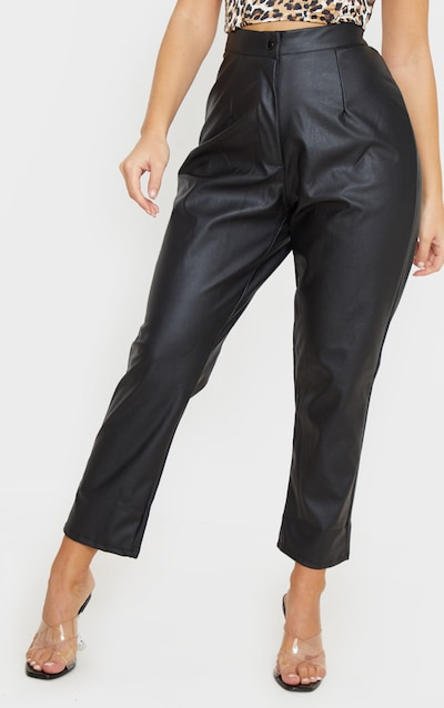 Black Faux Leather Slim Leg Trousers