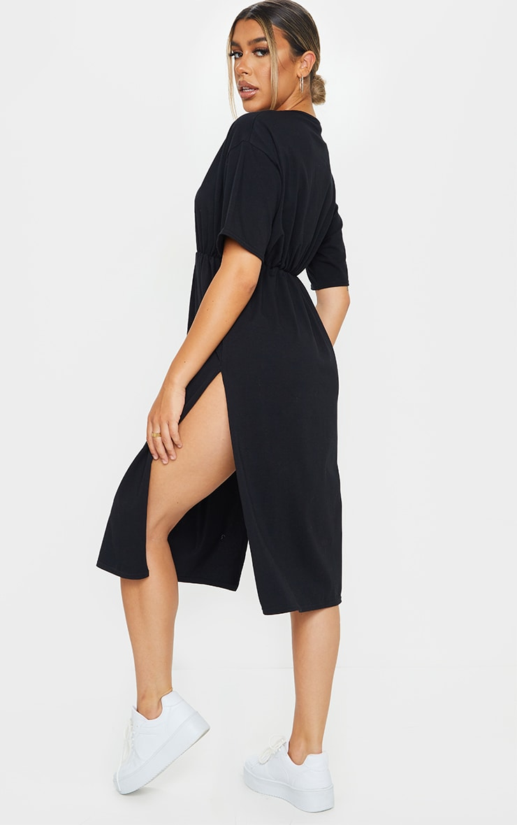 Black T Shirt Split Detail Midi Dress 2