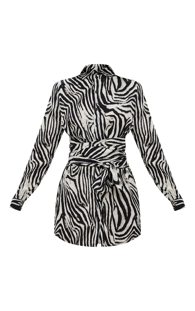Black Zebra Tie Waist Shirt Dress 3