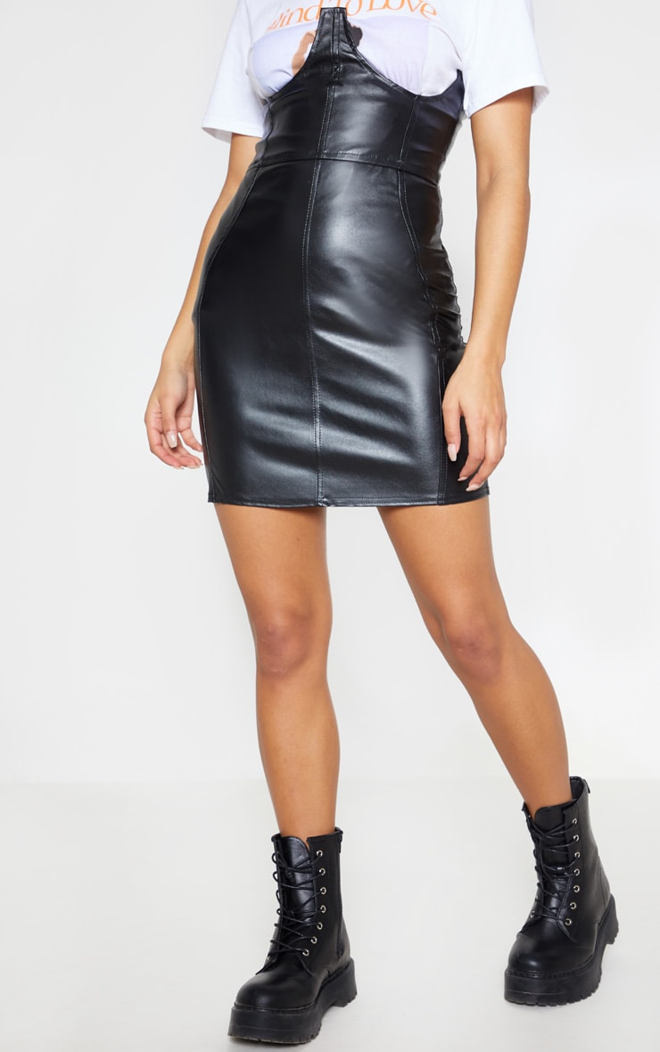 Black Faux Leather High Waisted Bustier Mini Skirt 3