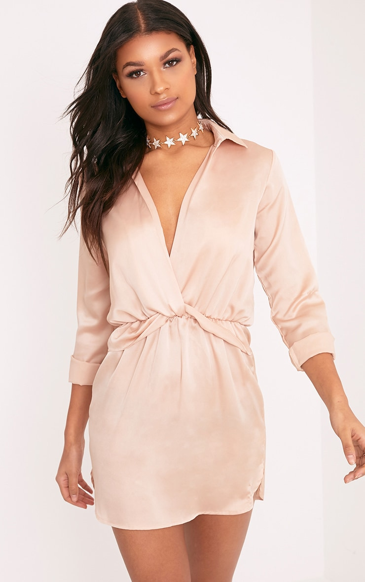 Katalea Champagne Twist Front Silky Shirt Dress 1