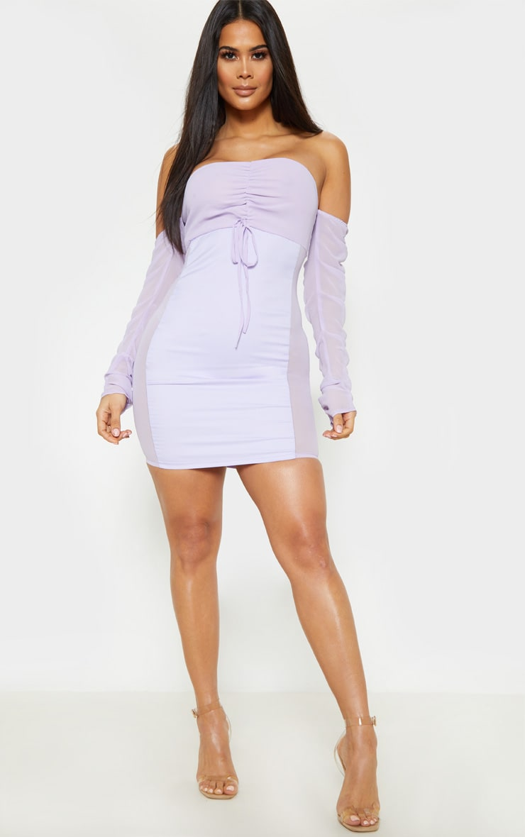 Lilac Mesh Ruched Bodycon Dress 1