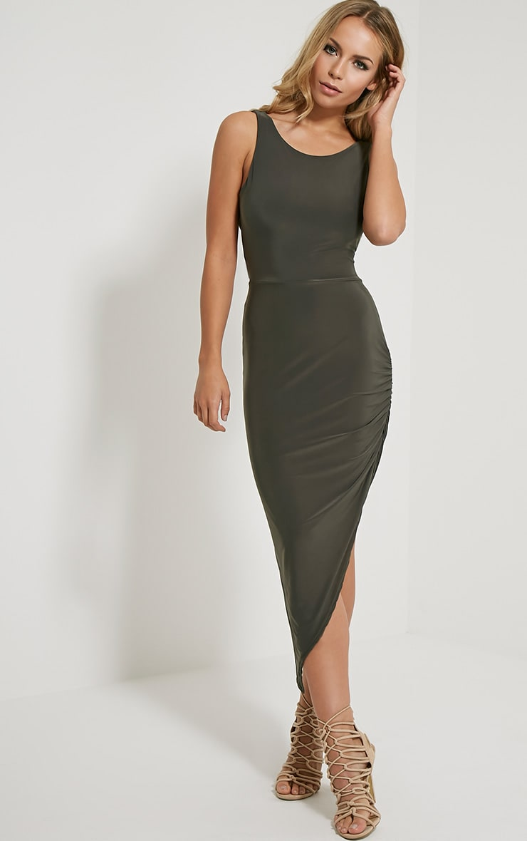 Carmen Khaki Cross Back Ruched Side Midi Dress 4