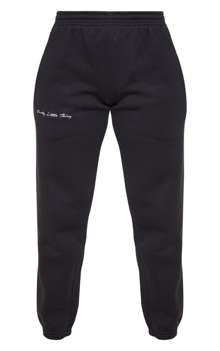 PRETTYLITTLETHING Black Embroidered Track Pants 4