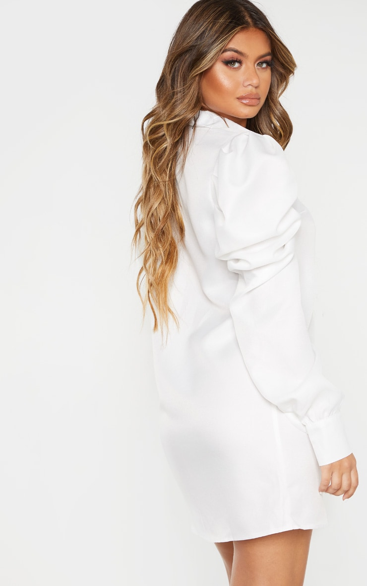 White Puff Sleeve Shirt Dress 2
