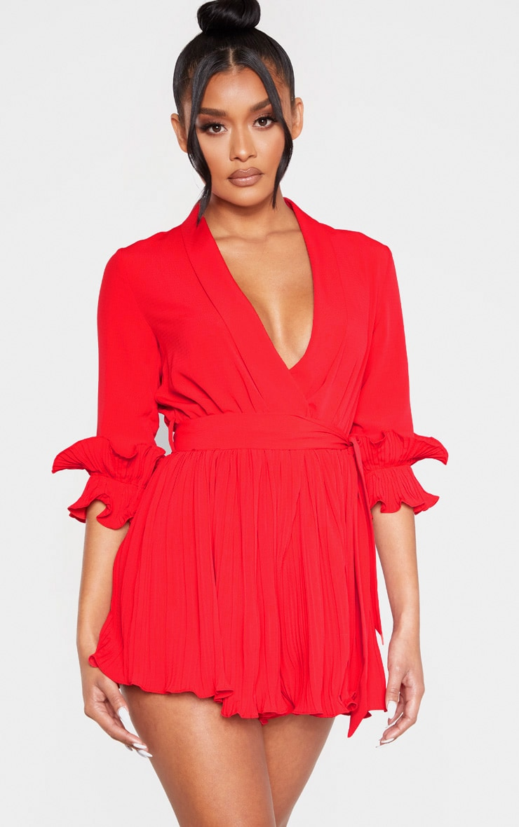 Red Frill Detail Pleated Romper 4