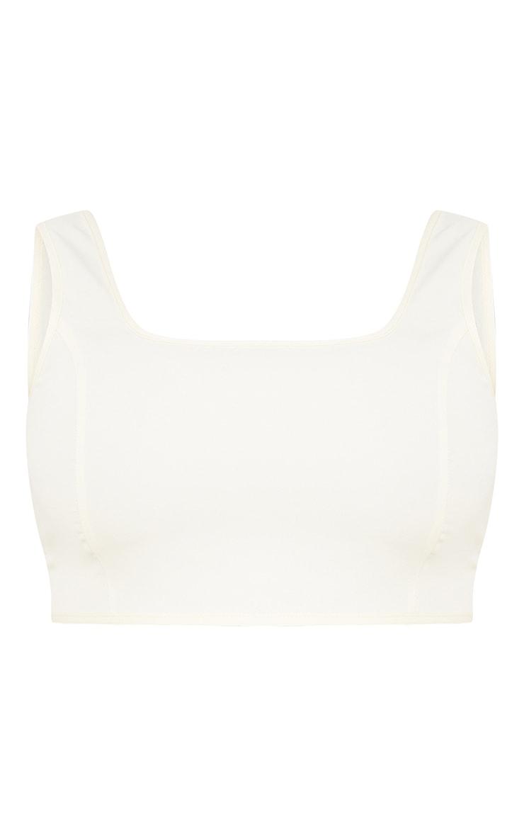 PLT Plus - Crop top en maille tissée crème à détail coutures  5
