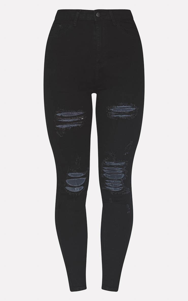 PRETTYLITTLETHING Black Distressed 5 Pocket Skinny Jean 3