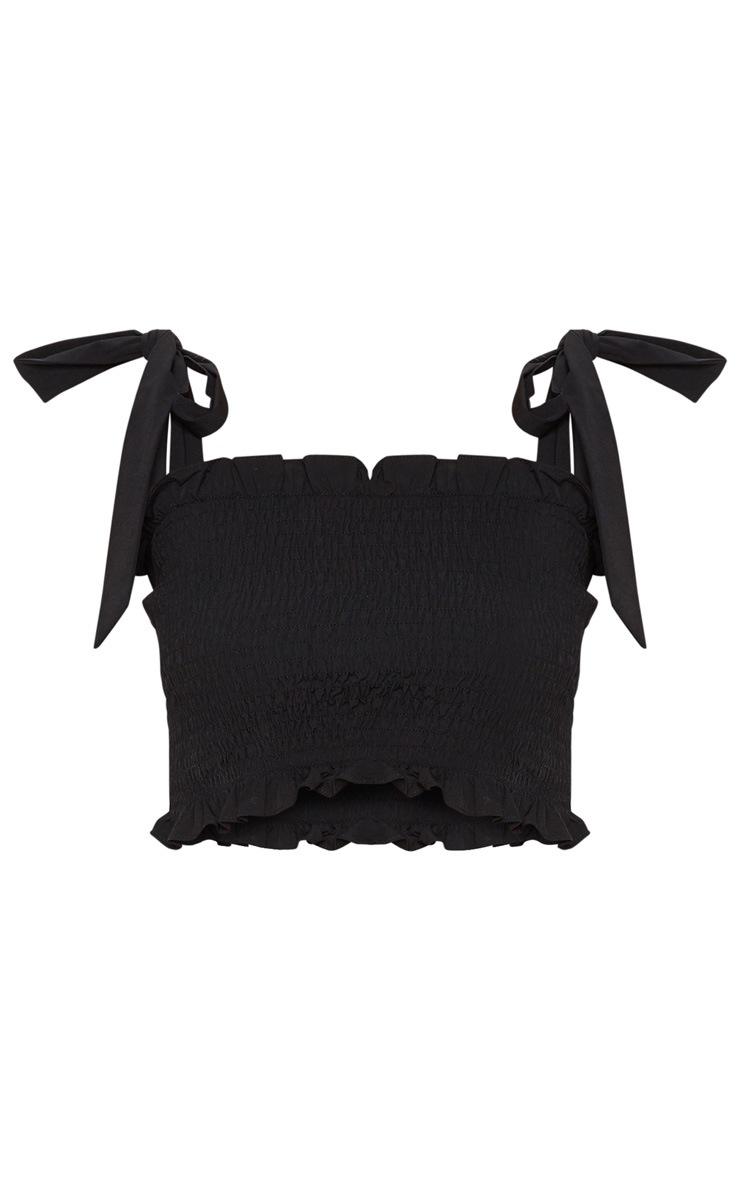 Petite Black Shirred Tie Strap Crop Top 3