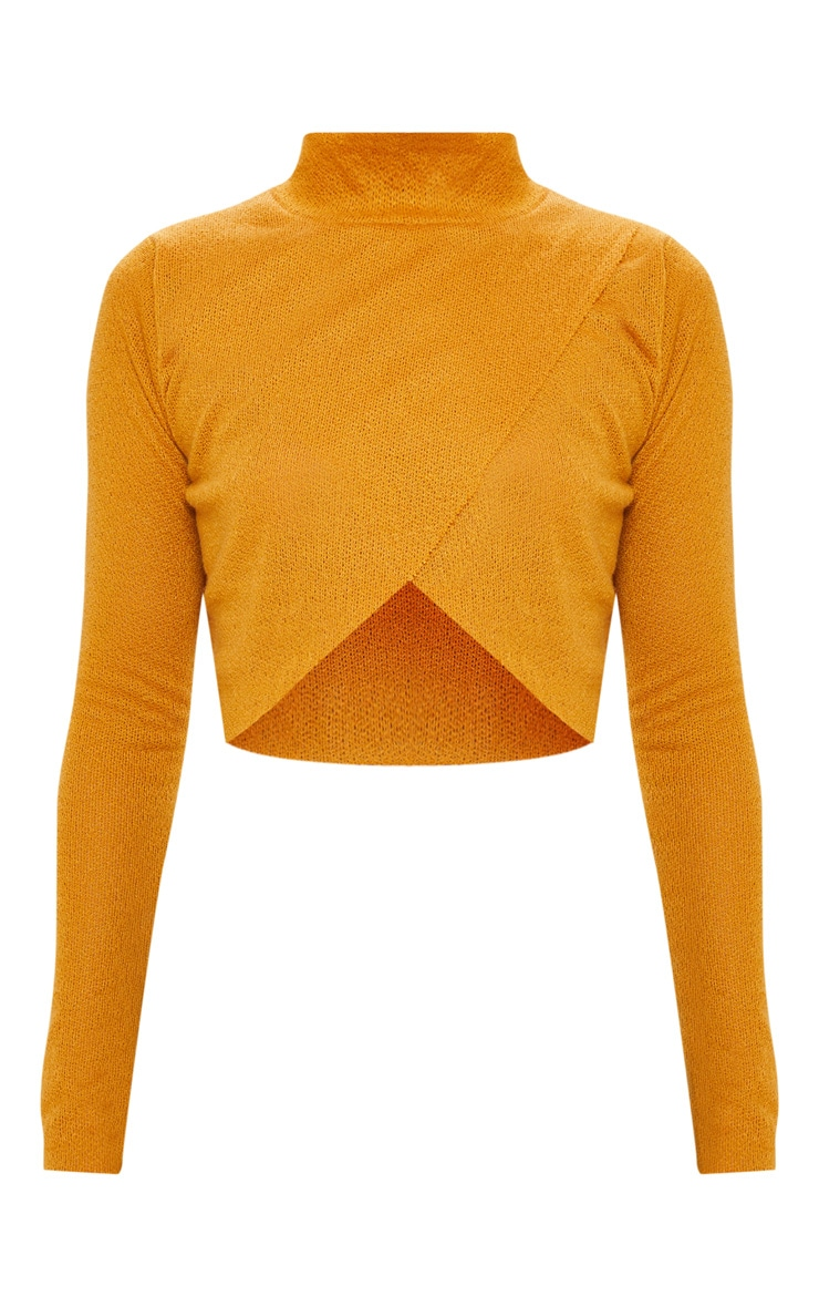 Mustard Lightweight Knit Wrap Front  Crop Top 3