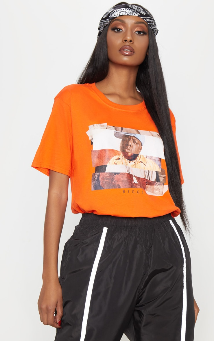 Orange Biggie Print Oversized T Shirt 2
