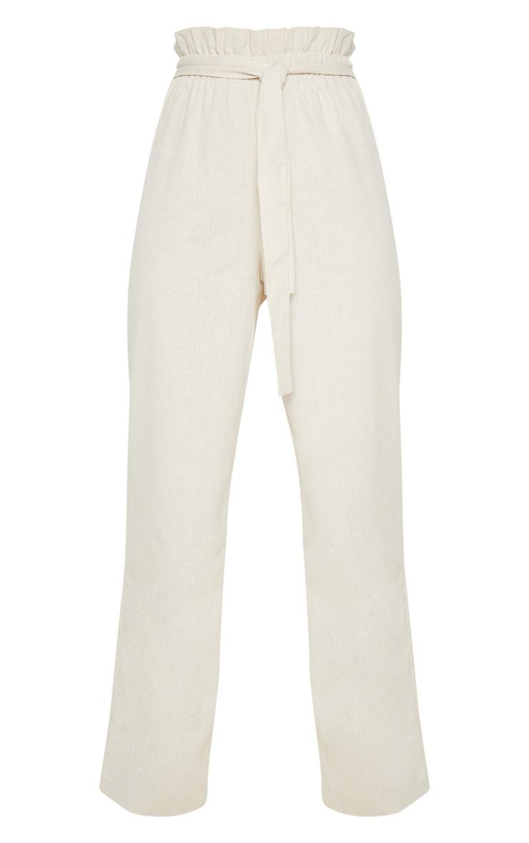 Pantalon paperbag effet lin gris pierre à taille froncée 3