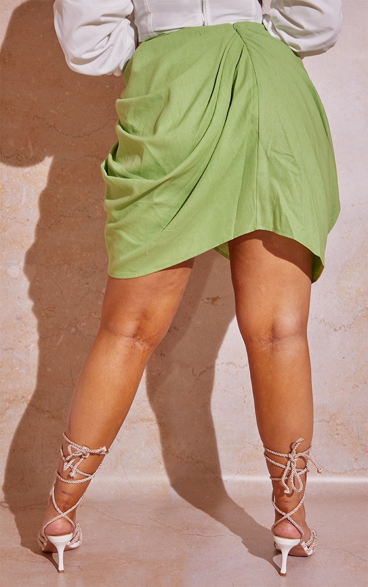 Plus Sage Green Gathered Mini Skirt  3