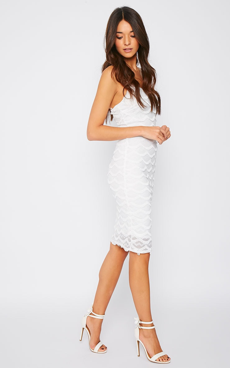 Hailey Cream Eyelash Midi Dress 4