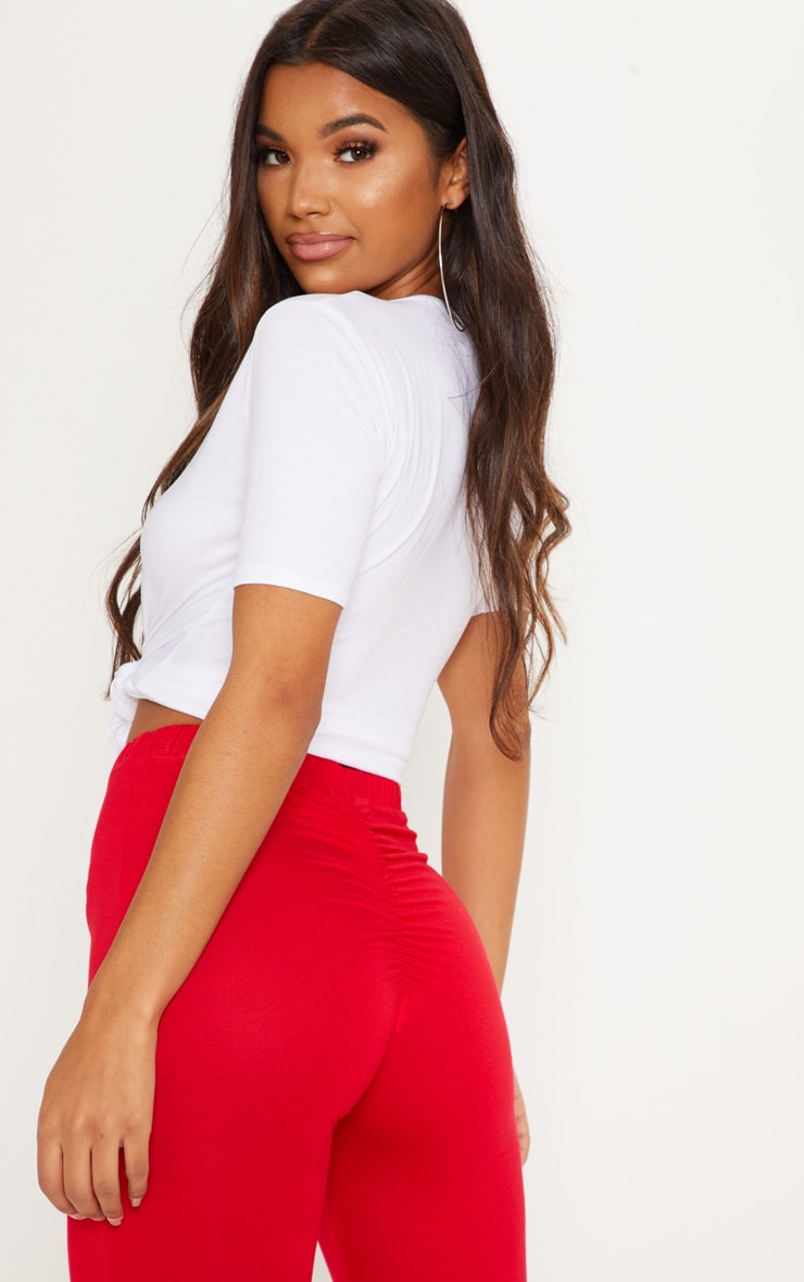 Red Ruched Back Jersey Leggings 5