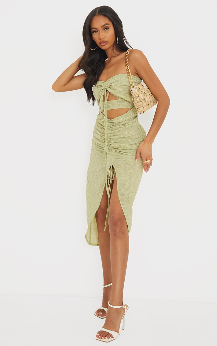 Green Textured Bandeau Cut Out Ruched Midi Dress 3