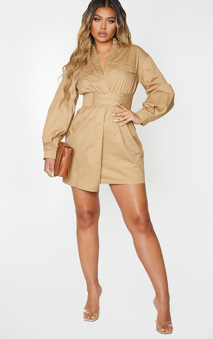 Camel Plunge Waist Detail Long Sleeve Shift Shirt Dress 3