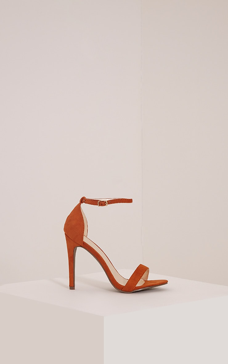 Clover Orange Faux Suede Strap Heeled Sandals 3