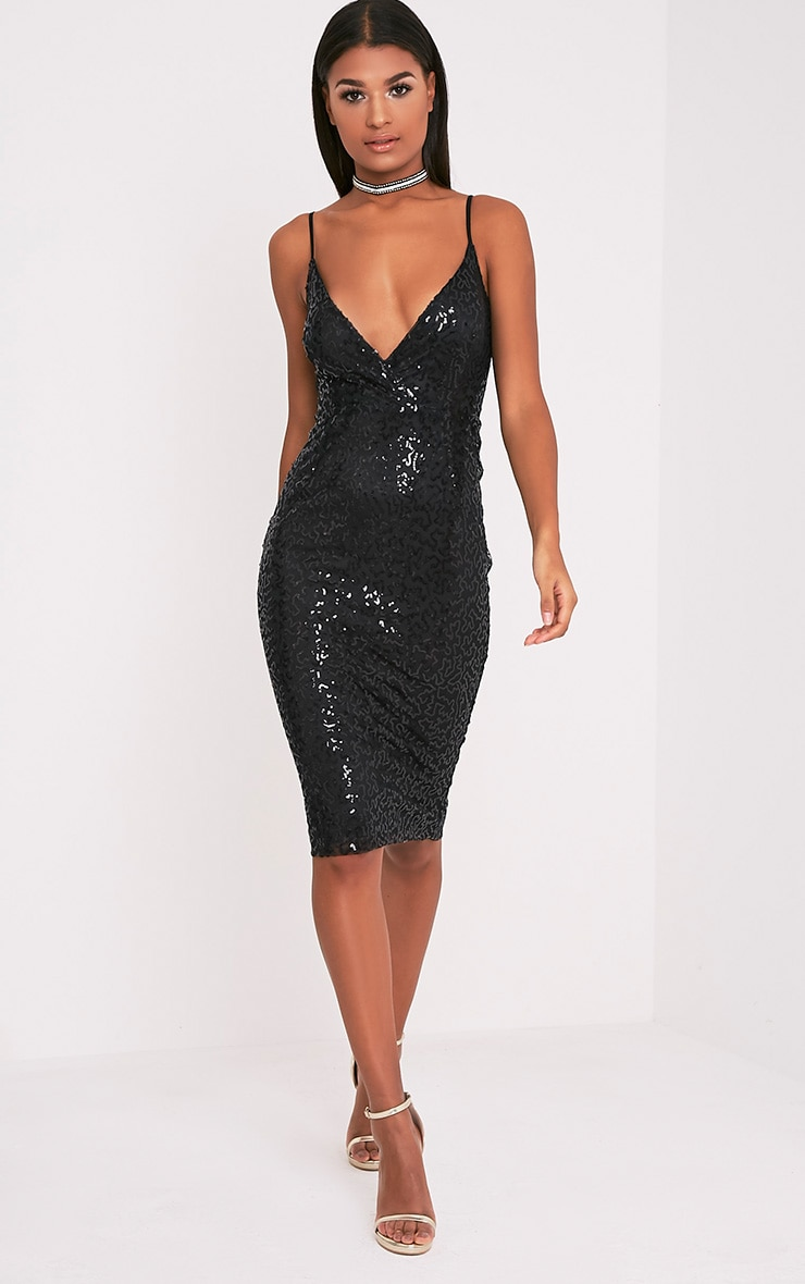 Betsie Black Strappy Sequin Midi Dress 5