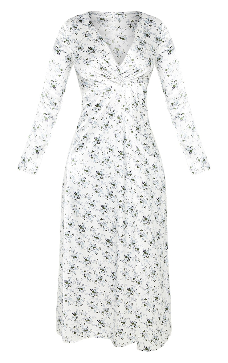 Petite White Floral Twist Front Maxi Dress 3