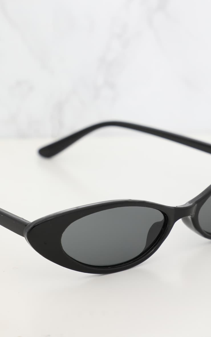 Black Matte Thin Retro Sunglasses 3