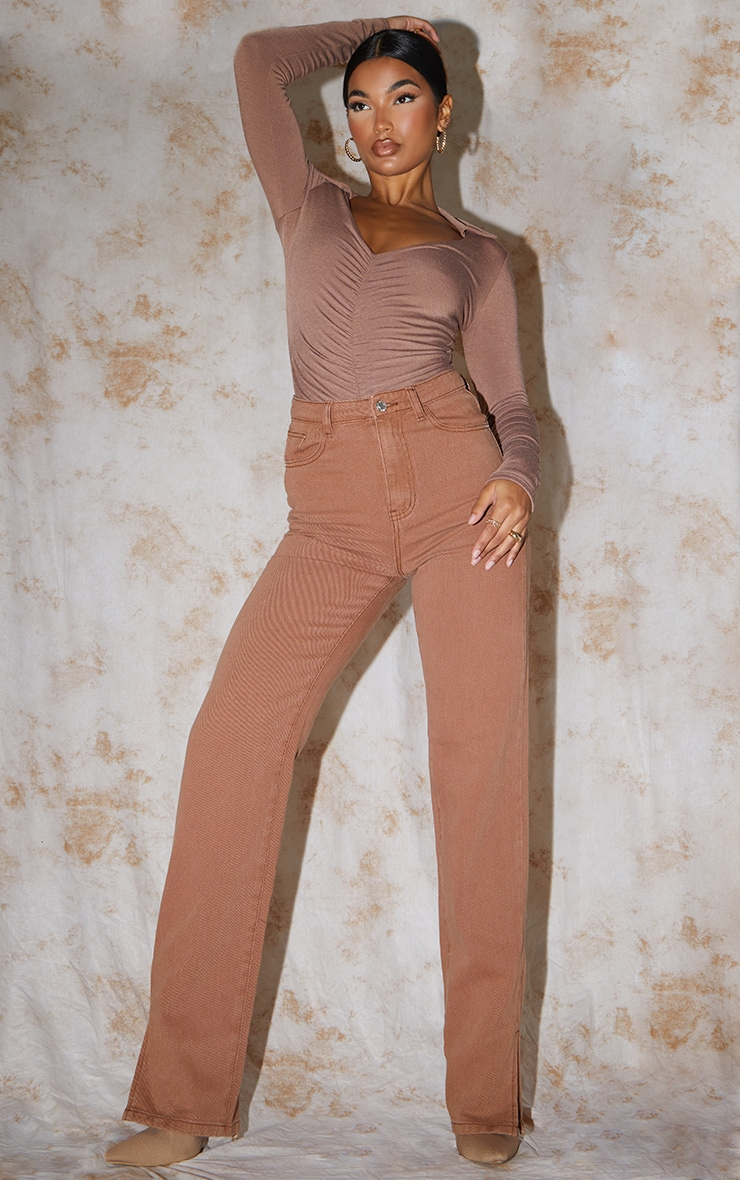 Recycled Chocolate Contour Jersey Ruched Front Long Sleeve Bodysuit 3