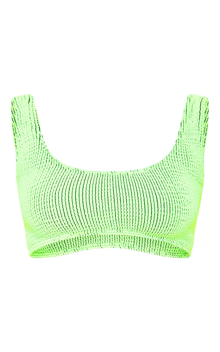 Lime Contrast Crinkle Deep Scoop Bikini Top 3