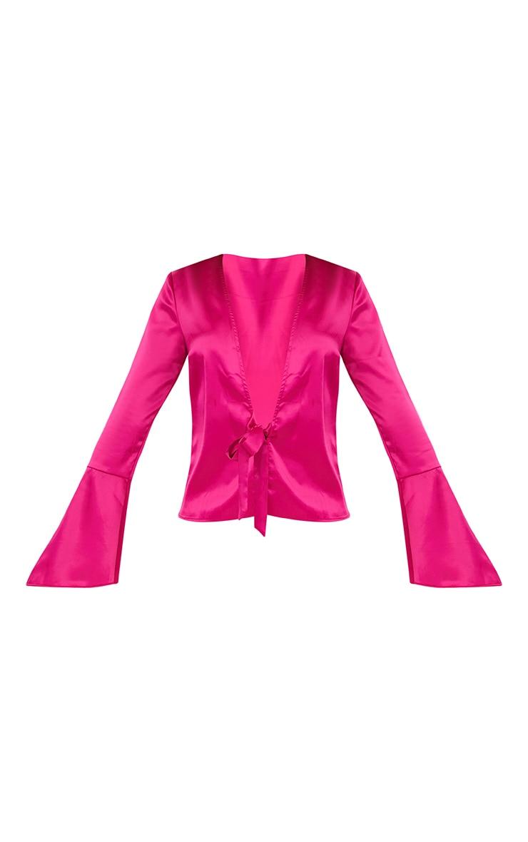 Hot Pink Satin Flute Sleeve Plunge Tie Blouse 3
