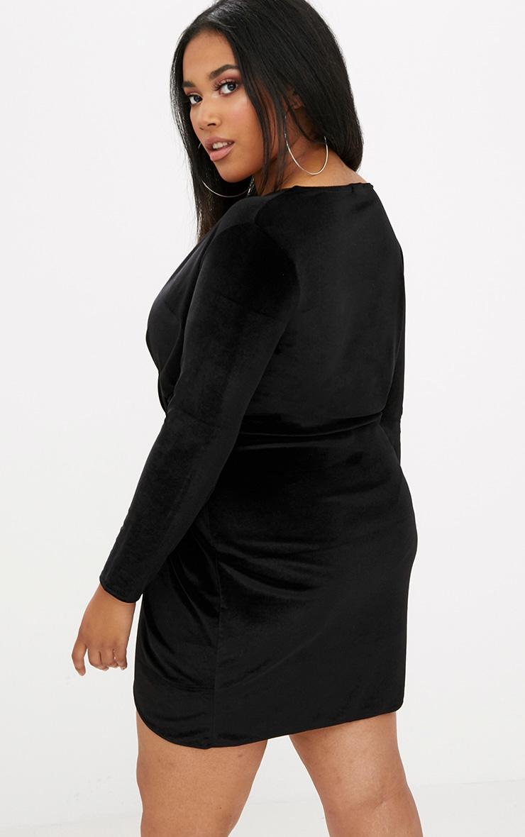 Plus Black Velvet Long Sleeve Wrap Dress 2