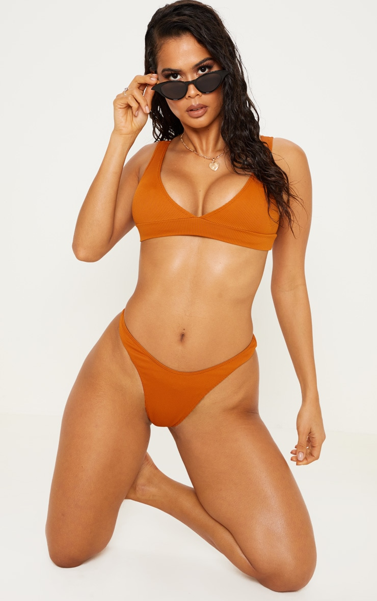 Rust Mix & Match Ribbed Plunge Bikini Top 1