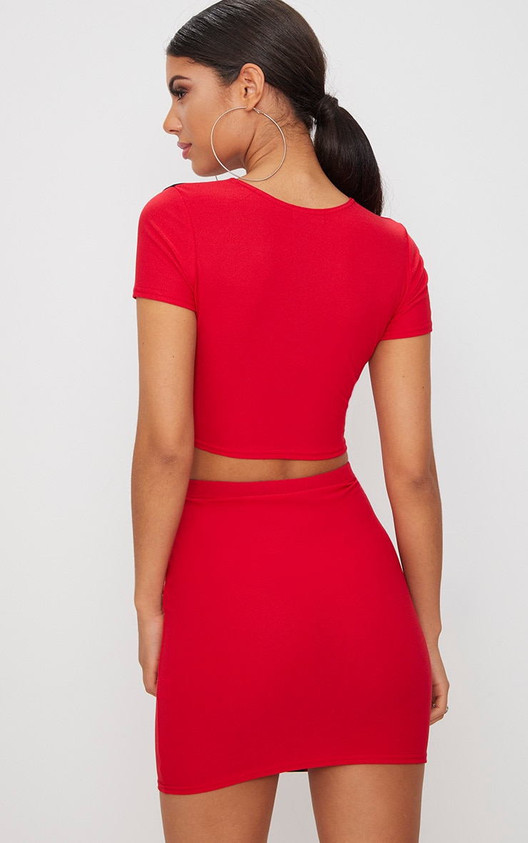 Red Stripe Panel Round Neck Crop Top 2