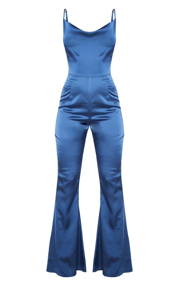 Midnight Blue Cowl Neck Satin Jumpsuit 3