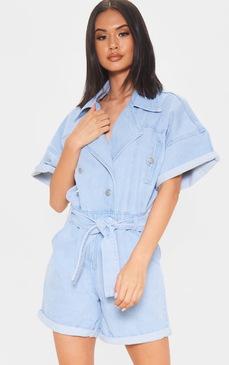 Blue Popper Detail Tie Waist Denim Romper 1