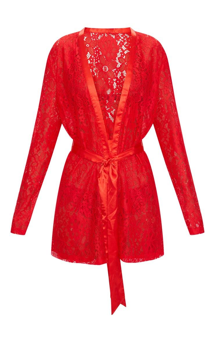 Deshabillé kimono en dentelle rouge à motifs floraux 3