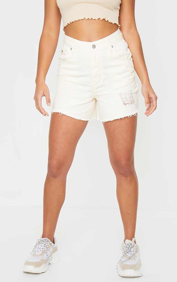 Petite Ecru Frayed Hem Distressed Denim Shorts 2