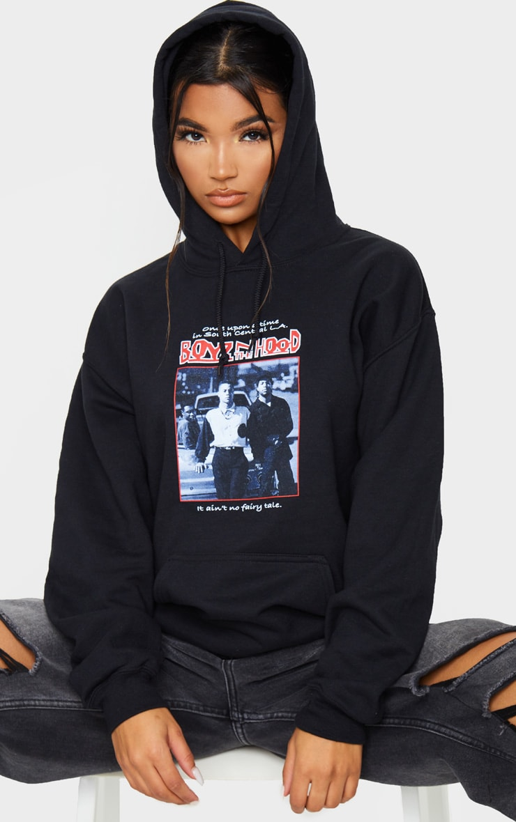 Black Slogan Boyz In The Hood Print Hoodie 1
