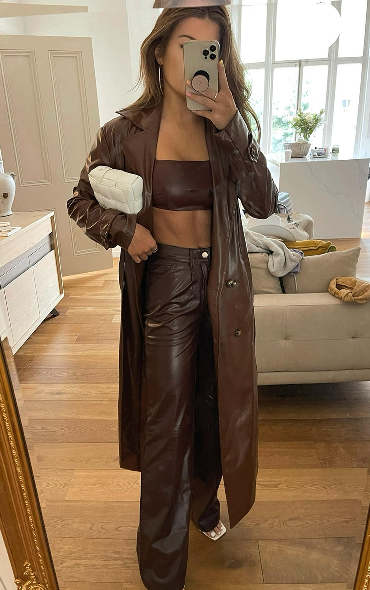 Chocolate Faux Leather Crop Top 1