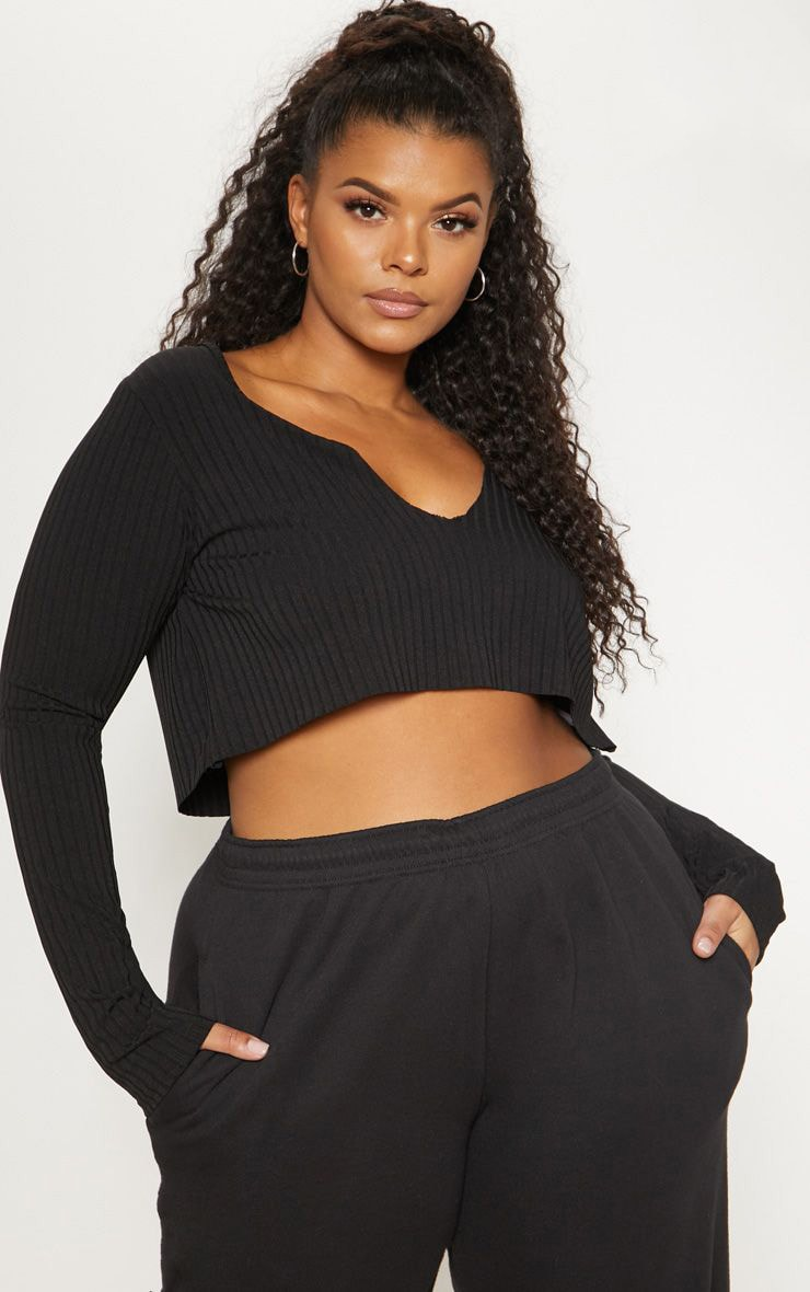 Plus Black Long Sleeve Rib Raw V Crop Top 1