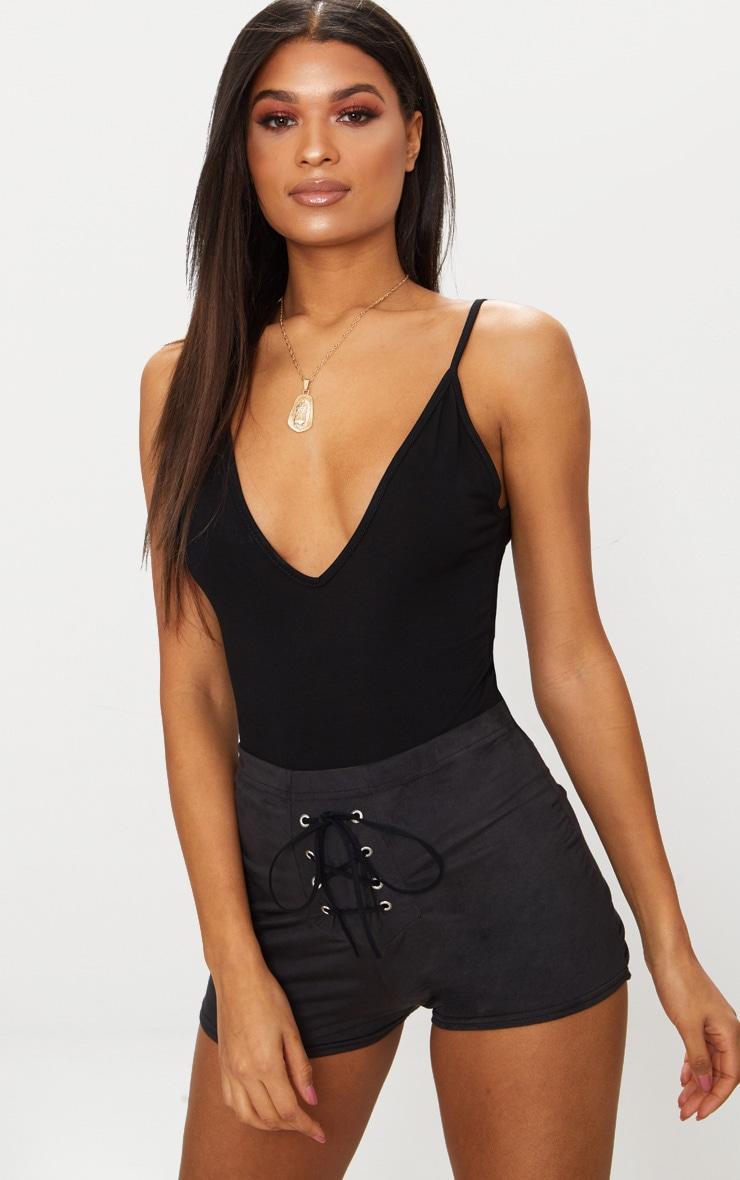Black Faux Suede Lace Up Front Short 1