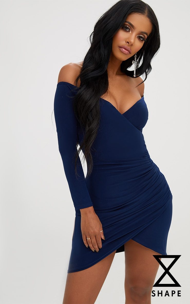 f49544622982a Shape Navy Ruched Bardot Bodycon Dress
