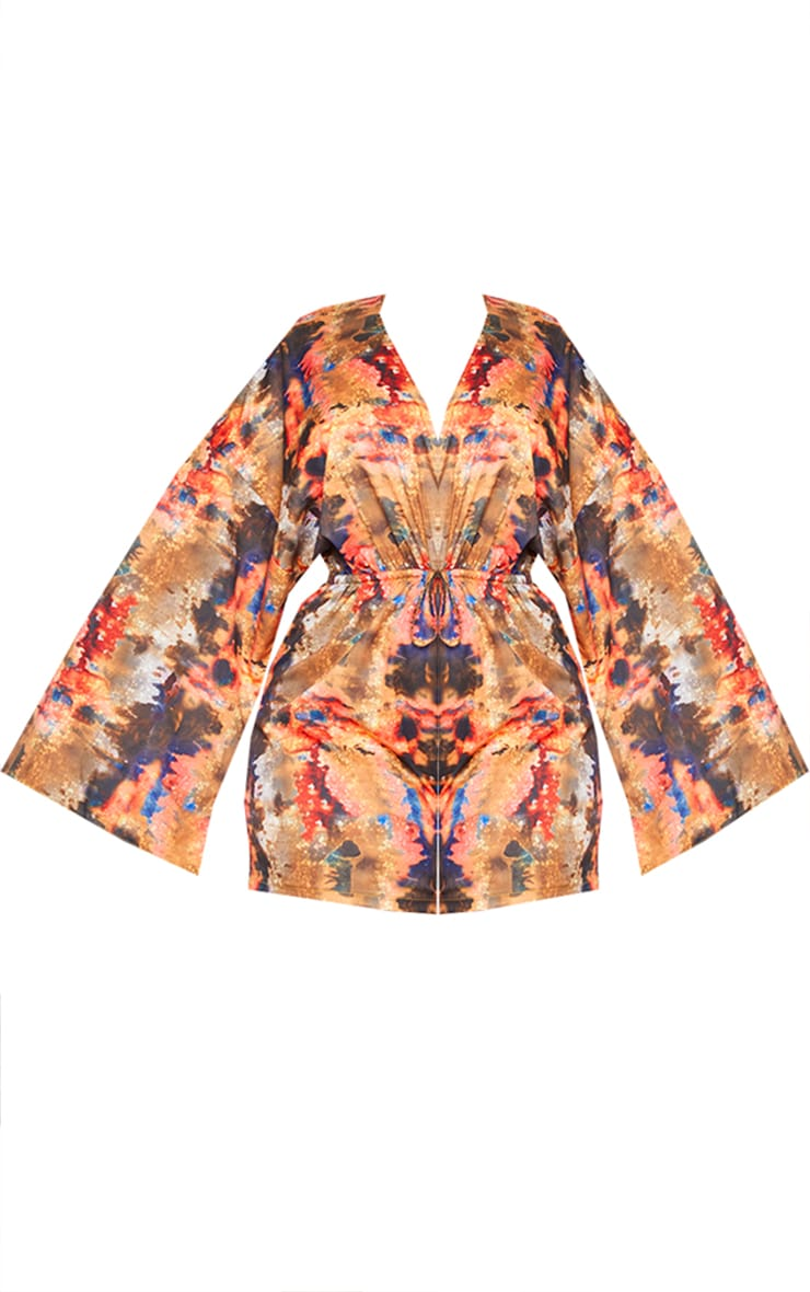 Plus Red Abstract Print Flare Sleeve Romper 5