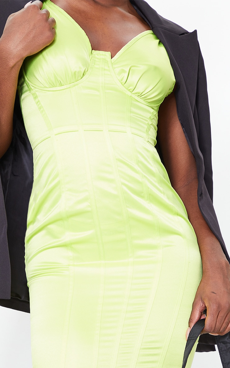 Tall Lime Satin Corset Detail Midi Dress 4
