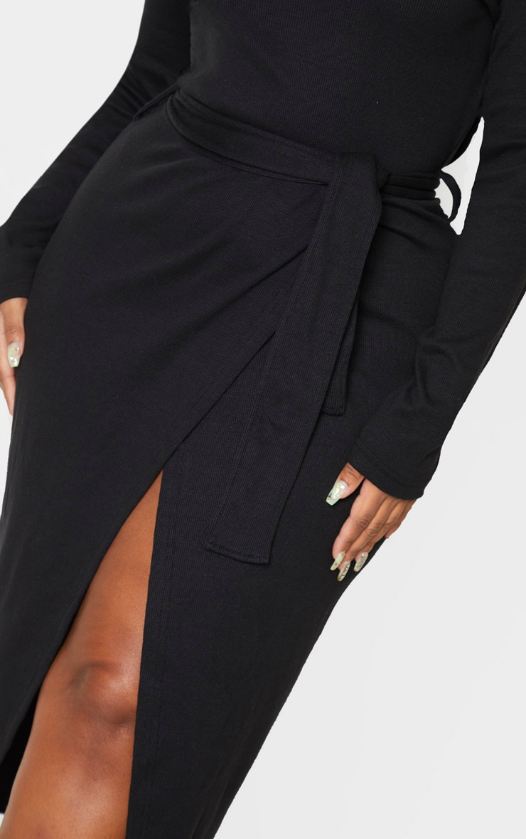 Plus Black Thick Rib Tie Waist Wrap Midi Dress 5