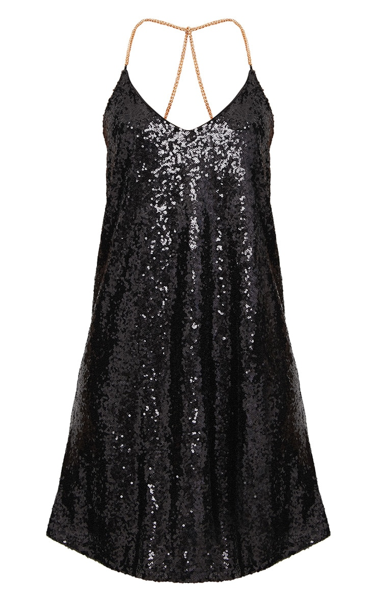 Black Sequin Plunge Chain Strap Shift Dress  3