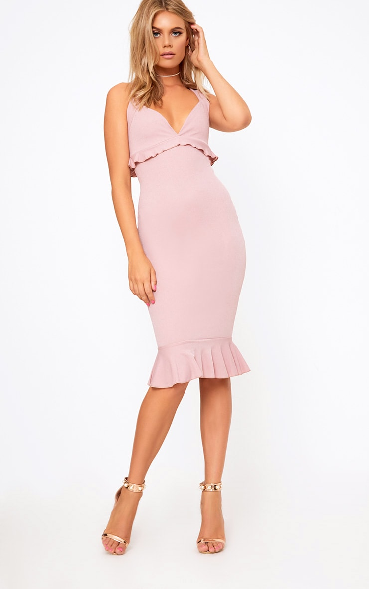 Dusty Pink Frill Detail Midi Dress 4
