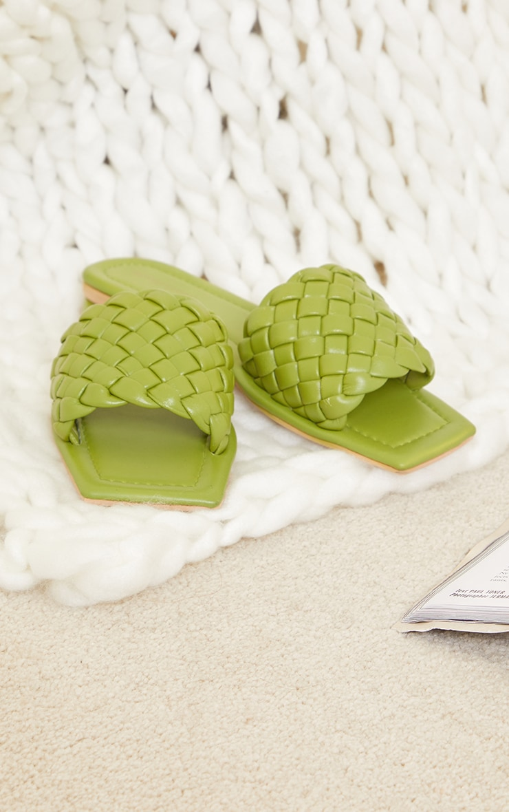 Sage Green Real Leather Square Toe Chunky Basket Weave Mule Sandals  3