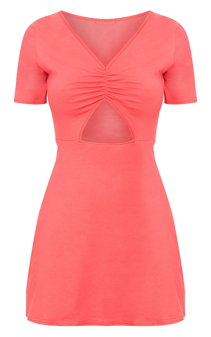 Red Front Ruched Swing Dress 3