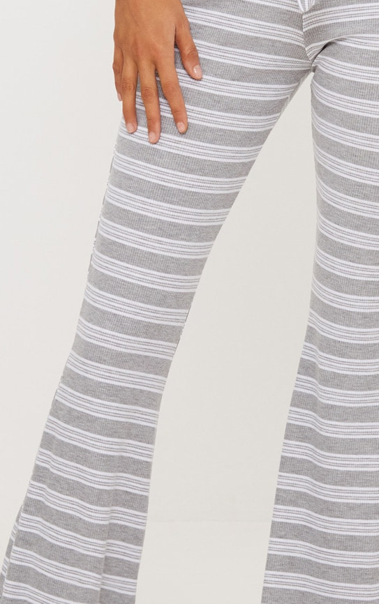 Pale Grey Ribbed Stripe Flare Trouser 5