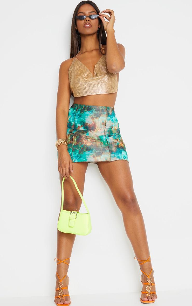 Green Flame Contrast Seam Mini Skirt 4