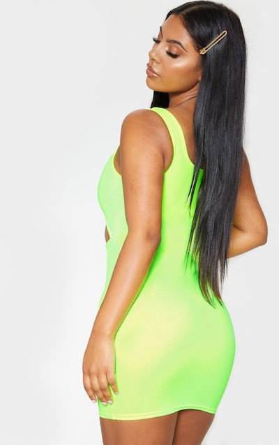 Lime Sleeveless Binding Detail Cut Out Bodycon Dress